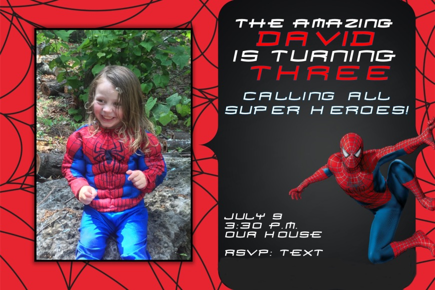 Spiderman invite for blog